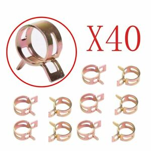 40pc Id 10mm Spring Band Clip Action Fuel Silicone Vacuum Hose Clamp 3 8
