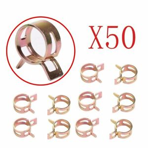 Id 0 35 Inch 9mm Spring Line Band Clip Fuel Silicone Vacuum Hose Clamp 50 Pcs