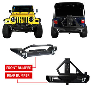 Front Rear Bumper W Spare Tire Carrier Winch Plate For 97 06 Jeep Wrangler Tj