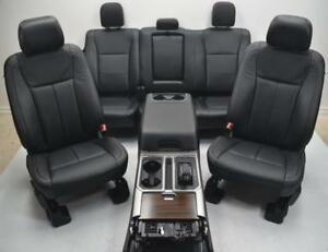 2015 2016 2017 Ford Lariat F150 F 150 Oem Front Rear Black Leather Seats Console