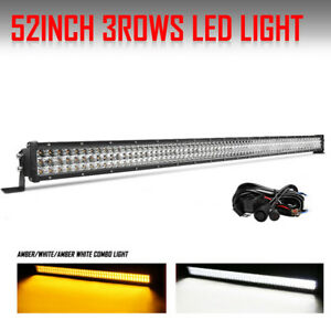 50inch Quad Row Led Light Bar 4032w Spot Flood For Ford Jeep Amber White 52 54