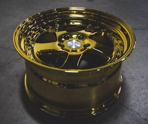 Esr Sr02 19x10 5 22 5x114 3 Gold Chrome Wrx 350z G35 Gs300 Genesis Accord Tlx