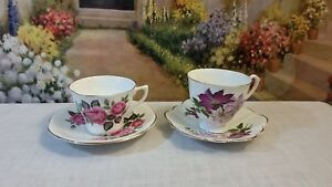 Vintage English Fine Bone China Royal Imperial Tea Cups Saucers Lot Of 4