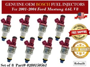 8 Fuel Injectors Oem Bosch For 1999 2004 Ford Mustang Gt V8 4 6l 0280150561