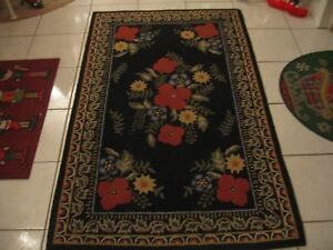 Beautiful Antique Vintage Cottage Hooked Needlepoint Area Rug Black With Floral