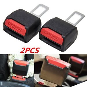 2x Universal Car Tucker Clip In Safety Seat Belt Buckle Extender Extension Black
