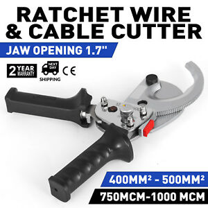 1000 Mcm Cable Cutter Ratchet Wire Cut Ratcheting Hand Tool Duty Aluminum Copper