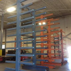 Heavy Duty Cantilever Steel Storage Racks 20 High Double Sided