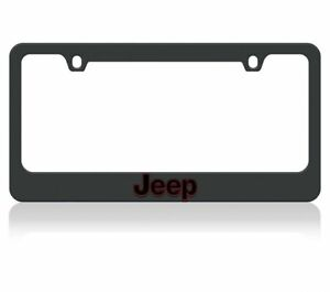 Jeep Black License Plate Frame Black Jeep Logo Outlined In Red