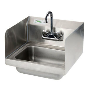 17 X 15 Wall Mounted Hand Sink With Gooseneck Faucet And Sidesplash