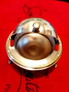 Vintage Silver Plate Roll Top Butter Caviar Dish Ornate Floral Liner