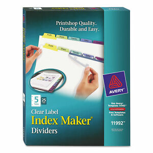 Avery Index Maker Dividers Clear Label 5 Tabs 25 Sets 11992
