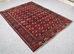 Vintage Persian Area Carpet 6 7x9 Caucasian Bukhara Hand Knotted Wool Pile Rug