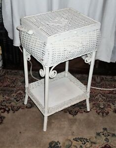 Antique 1900 S Heywood Wakefield Sewing Stand Basket Painted White