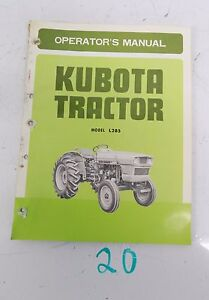 Kubota L285 Diesel Tractor Operator s Owner s Manual Parts List