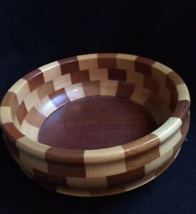Vintage Treen Woodenware Fruit Bowl By Cambridge Ware The Granchester Bowl 23cm