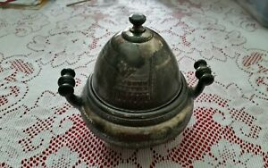 Antique Silver Meriden Britannia Co Domed And Ornate Plate Covered Bowl 1880