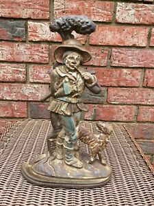 Antique Cast Iron Doorstop 14 Inches Tall Man With Ax And Dog