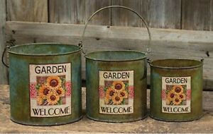 Primitive Rustic Farmhouse Country Sunflowers Buckets W Handles Set Of 3