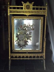 Antique Mirror Fireplace Hand Painted Screen Antique Gold Wood Frame 1800 S