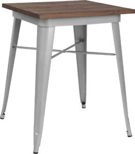 23 5 Square Silver Metal Restaurant Table With Walnut Wood Top Cafe Table