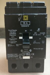 Square D Edb34015 15 Amp 3 pole Circuit Breaker 480vac 240vac Bolt On Style