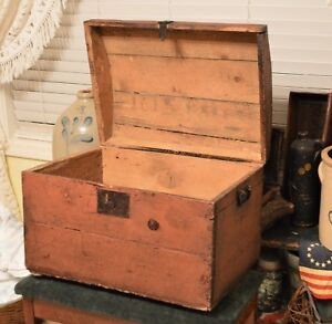 1700 1800 S Domed Blanket Chest Trunk Salmon Red Old Nails Wrought Iron Handles