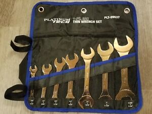 Platinum Tech 7pc Sae Super Thin Open End Wrench Set 3 8 To 1 1 4 Pouch 99537