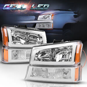 4pcs For 2003 2006 Chevy Silverado Clear Side Headlights Headlamps W led Drl Us