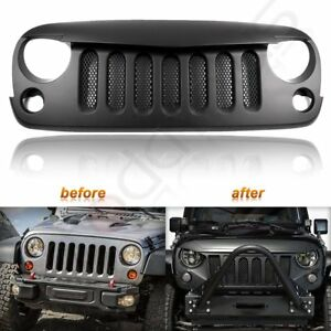 For 2007 2018 Jeep Wrangler Jk Matte Black Angry Bird Front Bumper Grille W mesh