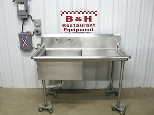 52 Stainless Steel Single 24 One 1 Bowl Prep Sink W Right Side Drain Board