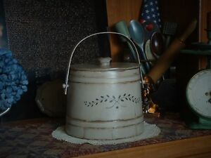 Primitive Farmhouse Wood Metal Decorative Sugar Bucket Firkin