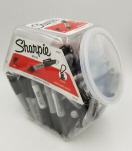 Sharpie Fine Point Mini Permanent Keychain Marker Black 72 Ct Canister Display