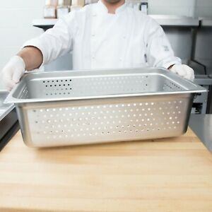 4 pack Full Size 6 Deep Stainless Steel Perforated Steam Table Hotel Pans