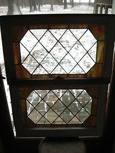 Stained Glass Window Set 2 Vintage Salvage Sash 24 X 15 Includes Ship