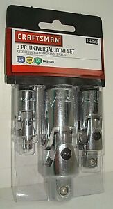 Craftsman 3 Piece Universal Joint Set 9 4250 1 4 3 8 1 2 In Drive