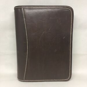Franklin Covey Compact Planner Brown Leather Binder Organizer Zip 6 Rings 1 25