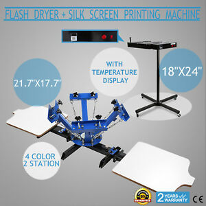 4 Color Screen Printing 2 Station Kit 18 X 24 Flash Dryer Wood Pressing Press
