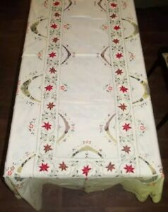 Embroidered Christmas Lace Tablecloth Venise De Point Inserts 250cm Never Used