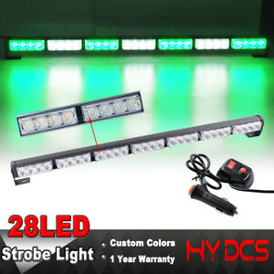 31 28 Led Green White Emergency Warning Hazard Advisor Flash Strobe Lights Bar