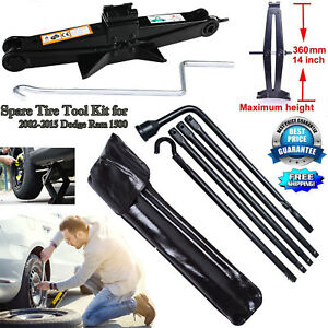 For Dodge Ram 1500 02 15 Truck Spare Repaire Tire Tool Kit W 2ton Scissor Jack