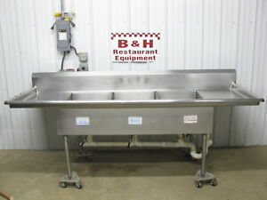99 Stainless Steel Heavy Duty Three 3 Compartment Sink 20 X 30 Bowls