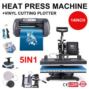 5in1 15x12 Inch Heat Press 14 Inch Vinyl Cutter Clamshell Sign Maker Wide Format