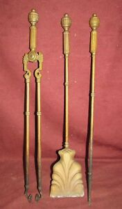 Set Antique Victorian Fireplace Tools