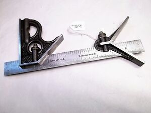 Vintage Bates Mfg Co Machinist Combination Square Made In Usa