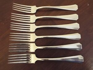 6 R Wallace Vogue Silverplate Dinner Forks 1898