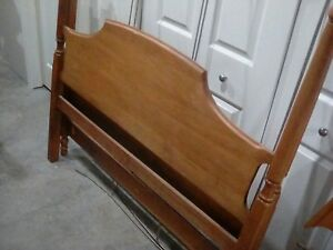 1960s Ethan Allen Solid Oak Queen Size Canopy Bed W Mirror