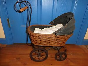 Antique Canvas Top Wicker Doll Baby Stroller Carriage