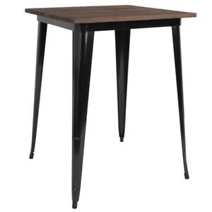 31 5 Square Black Metal Bar Height Restaurant Table With Walnut Wood Top
