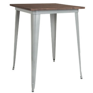 31 5 Square Silver Metal Bar Height Restaurant Table With Walnut Wood Top